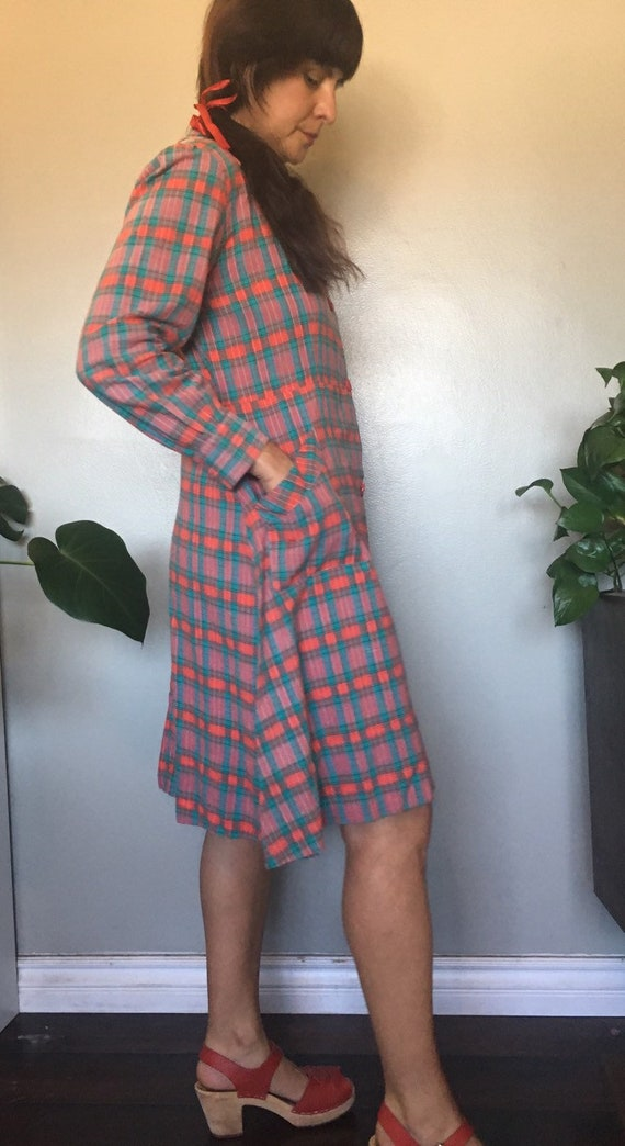 Vintage 1930's or 1940's red plaid French workwea… - image 3