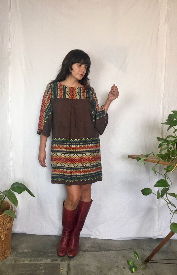 Vintage 1960's Guatemalan bell sleeve embroidered