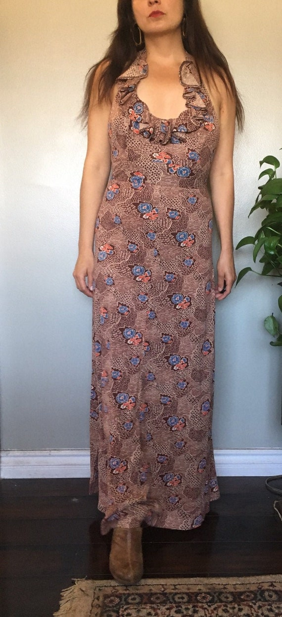 1970's Young Innocent by Arpeja floral halter maxi