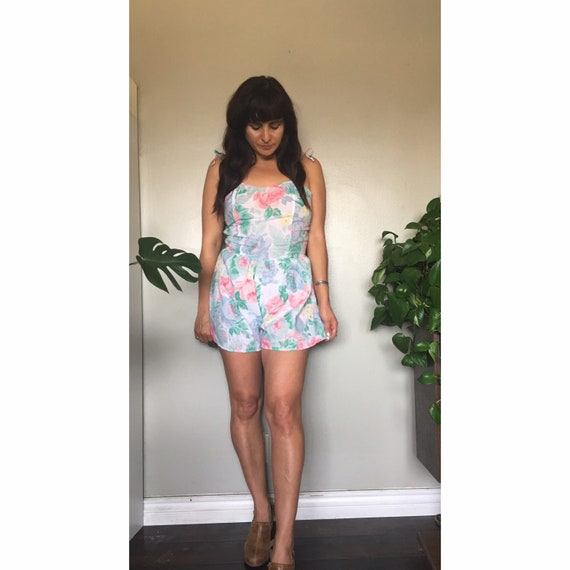 1980's floral romper play suit in a pastel floral
