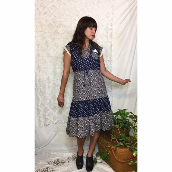 1970's cotton floral calico prairie dress