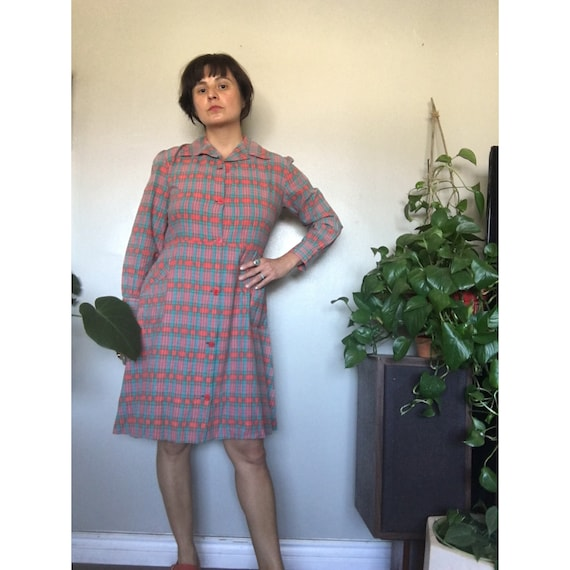 Vintage 1930's or 1940's red plaid French workwear