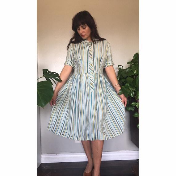 Vintage 1950's cotton pinstriped shirt dress