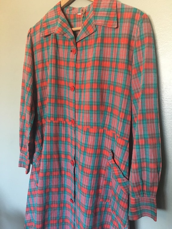 Vintage 1930's or 1940's red plaid French workwea… - image 7