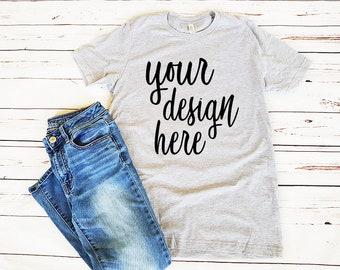 Heather Gray T Shirt Mockup Clothing Flat Lay Best Free Psd