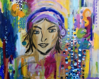 Cool bohemian chic Goddess abstract painting