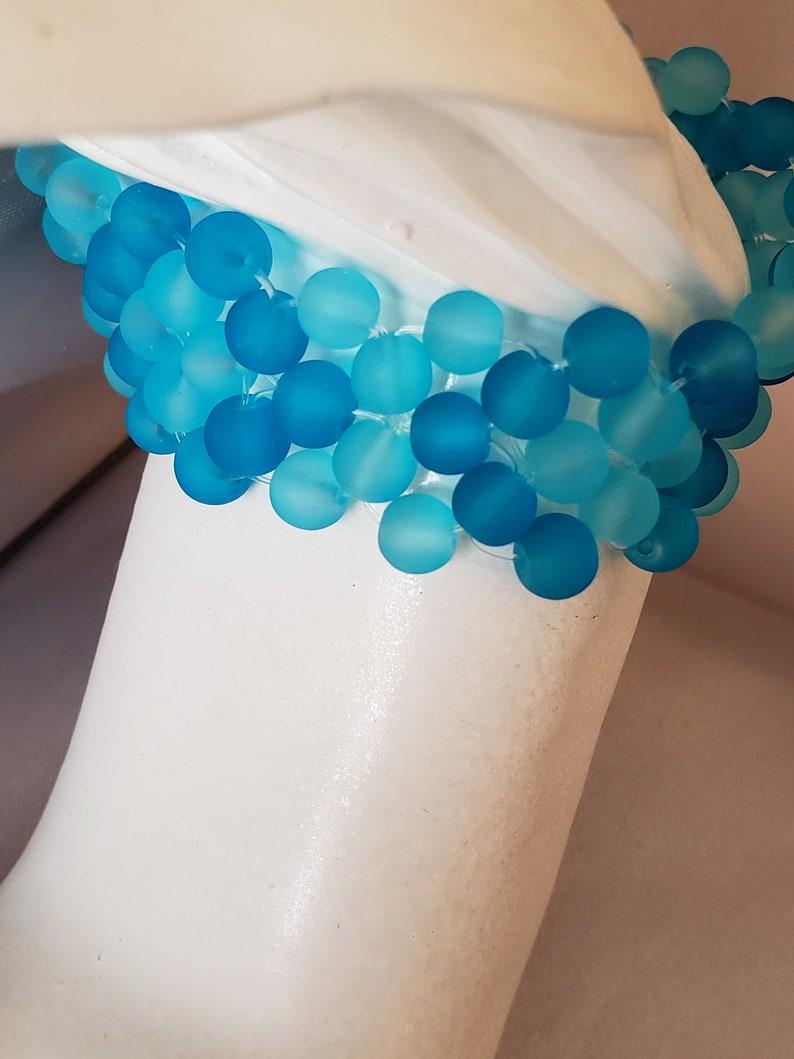 Dark /& Light Blue Frosted Glass Bracelet
