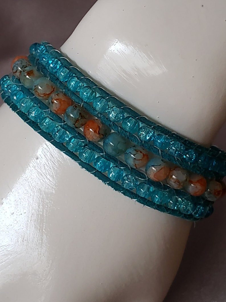 TealBrown Beaded Cuff Bracelet with Copper Bamboo Design Button