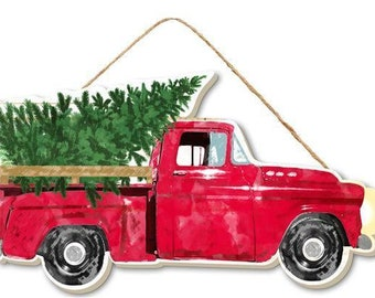 mdf sign christmas sign tree truck sign red truck 10x55 craft supply wreath attachment wreath enhancement 8224 d12