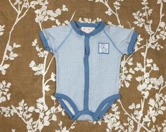 5b7a67e5b475 0-6m 90s Vintage Gymboree Baby Onesie Size Newborn 0 3 6 months Blue Puppy  Dog