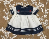 9m Nautical Red White Blue Polka Dot Vintage Baby Girls Dress Navy Sailor