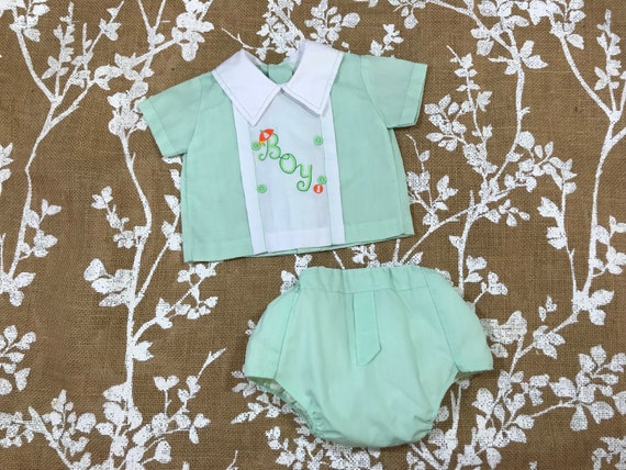 NEW Baby Girls 2 pc Set 3-6 Months Pink Green Floral Shirt Diaper Cover Outfit