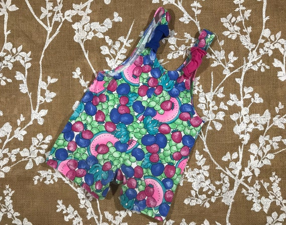 2T Scrunchie Straps Fruit Knit Romper Jumper Overa