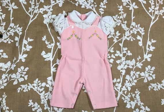 af8669417 3-6m Pink Romper Baby Girls Overalls Floral Collar Vintage
