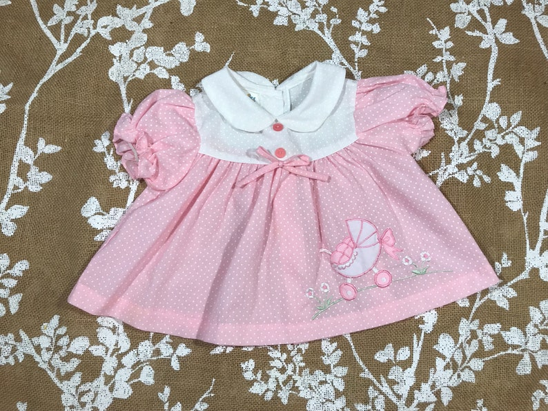 6-12m Pink Polka Dot Baby Carriage Applique Vintage Cuties by Judy Dress