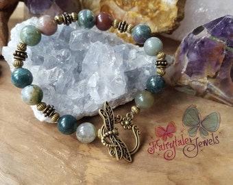 Green Agate Bracelet, Agate gemstone bracelet, unique