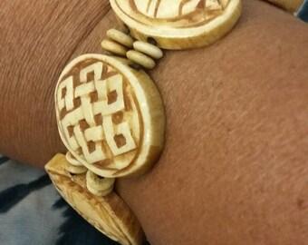 Carved coconut shell bracelet