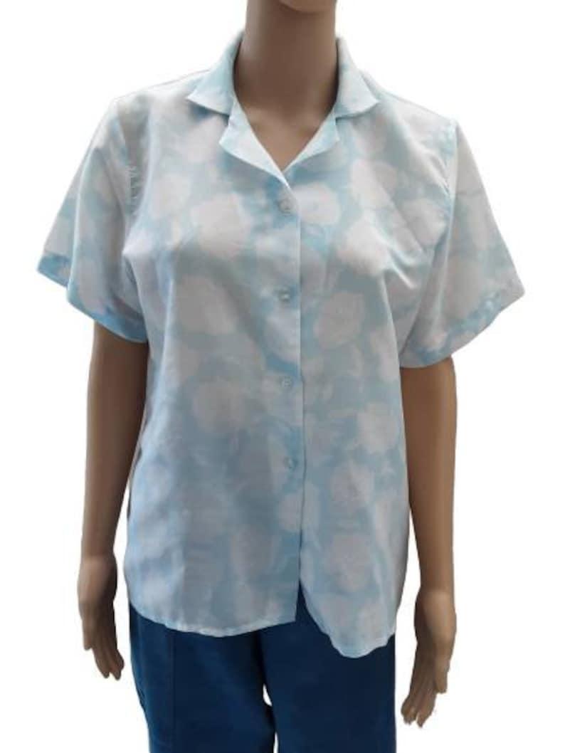 UK 1012 Vintage Sky Blue White Floral Print Button Up Cotton Blouse