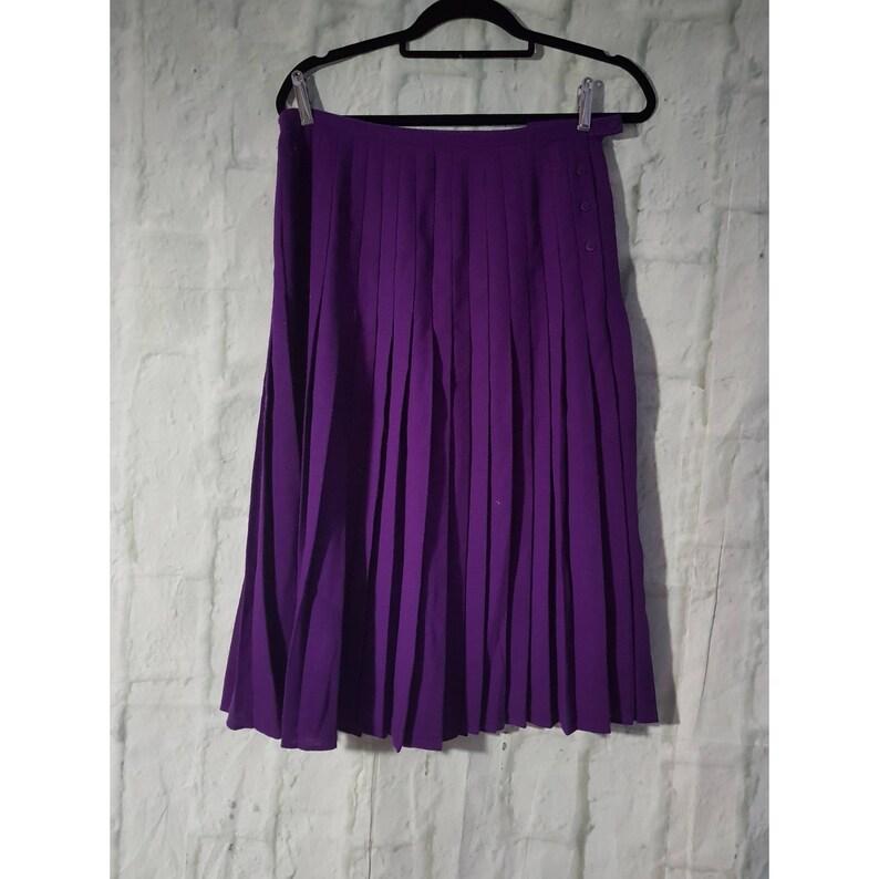Vintage Jaeger London Dark Cadbury Purple Pleated Skirt UK 12 image 0