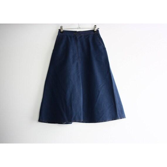 Vintage 1960s High Rise Blue Denim A-line Skirt, … - image 1