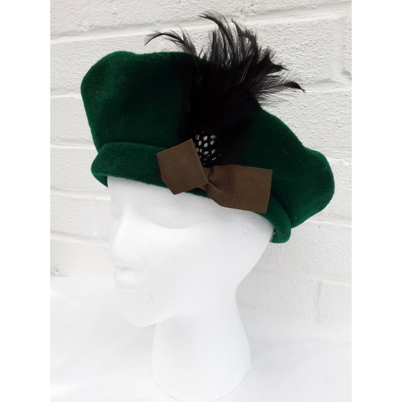 Vintage Kangol Dark Forest Green Wool Feather Polka Dot Bow image 0