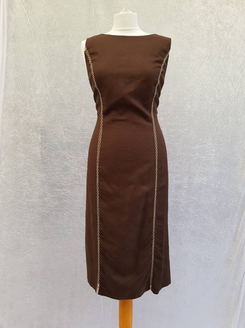 Vintage 90s Sleeveless Chocolate Brown Criss Cross Patterned image 0