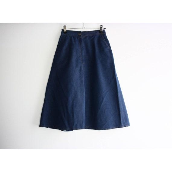 Vintage 1960s High Rise Blue Denim A-line Skirt, … - image 3