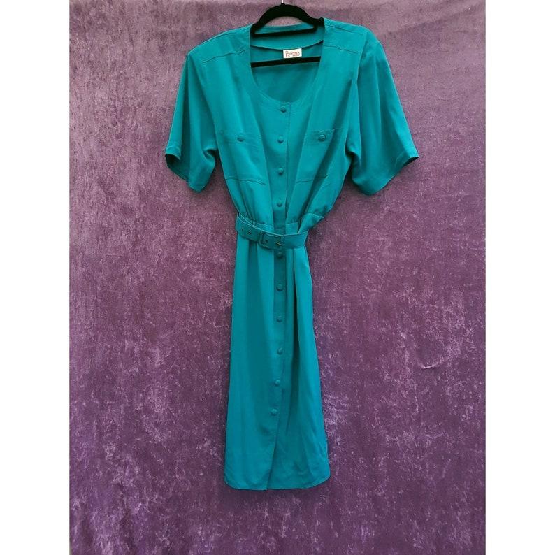Vintage 1970s Rhona Roy Teal Blue Green Button-up Belted Tea image 0