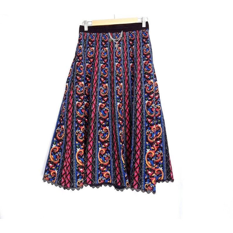 EU 38 UK 10 Vintage 1970s German Bavarian Black Tribal Patterned Silver Coins Charm Lace Trim Cotton Hippie Boho Gypsy Tracht A-line Skirt