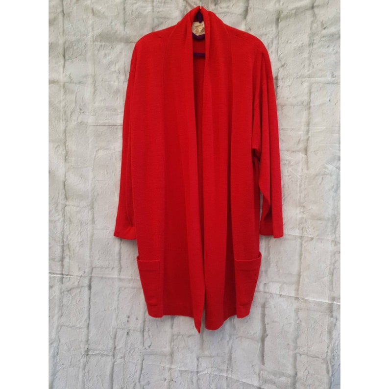 Vintage Lambswool Pure New Wool Red Oversized Long Cardigan image 0