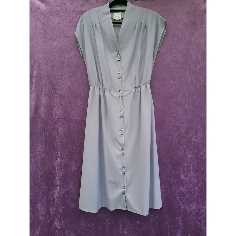 Vintage Pastel Silver Grey Polyester Front Button Ruched image 0
