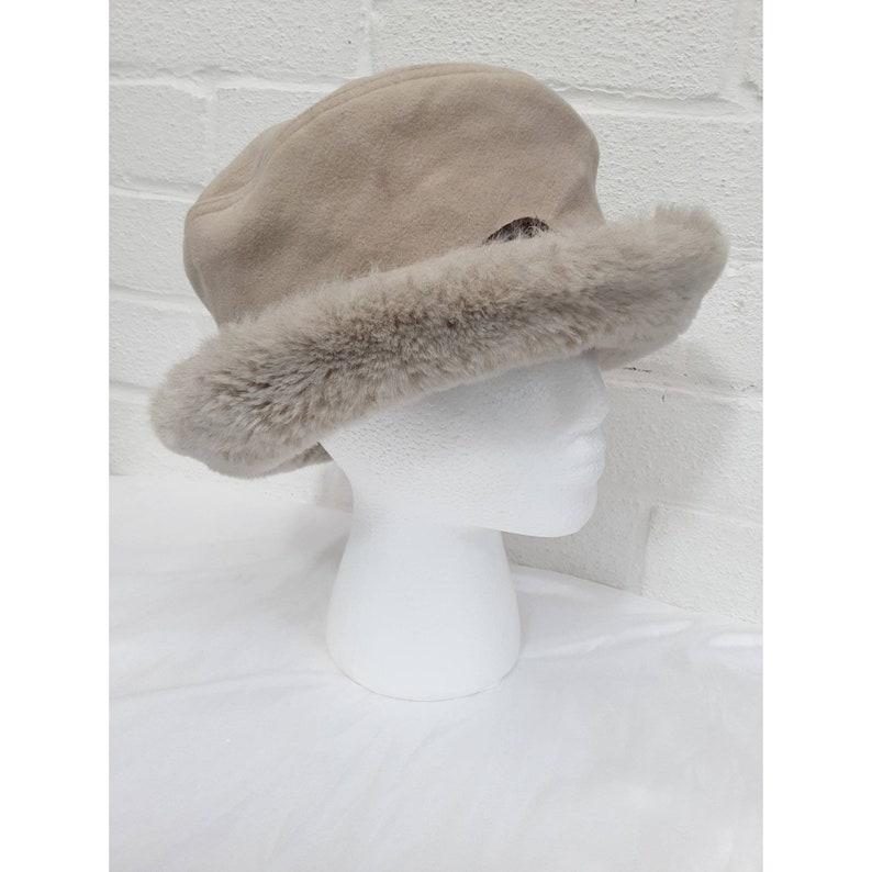 Vintage Emma B Design Balfour Hats England Beige Faux Fur image 0