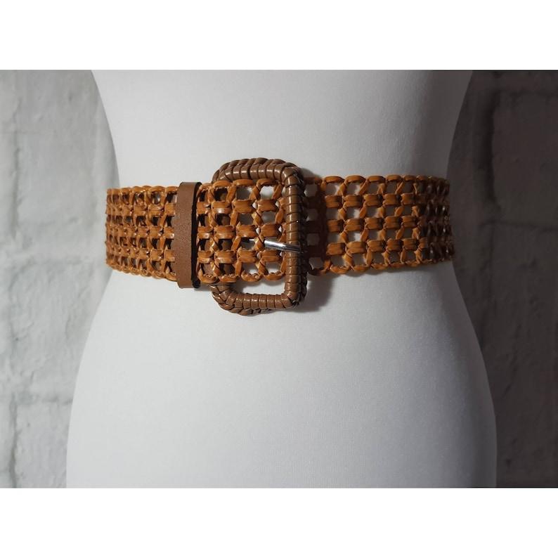 Vintage Tan Brown Faux Leather Lace Hole Square Criss Cross image 0