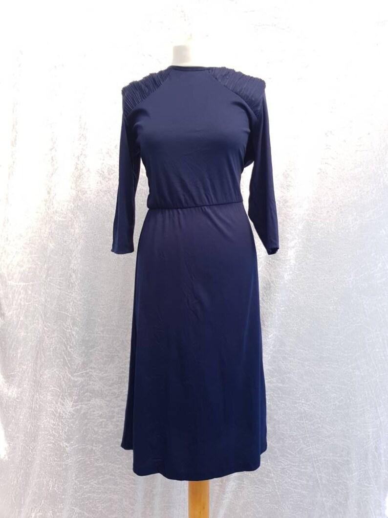 Vintage 1980s Blair Dark Navy Blue Ruched Soft Polyester image 0
