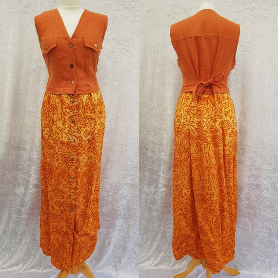 Vintage Yessica by C&A Orange Linen Button Up Floral Pattern Sleeveless Boho Summer Dress, Chest Pockets, UK 12