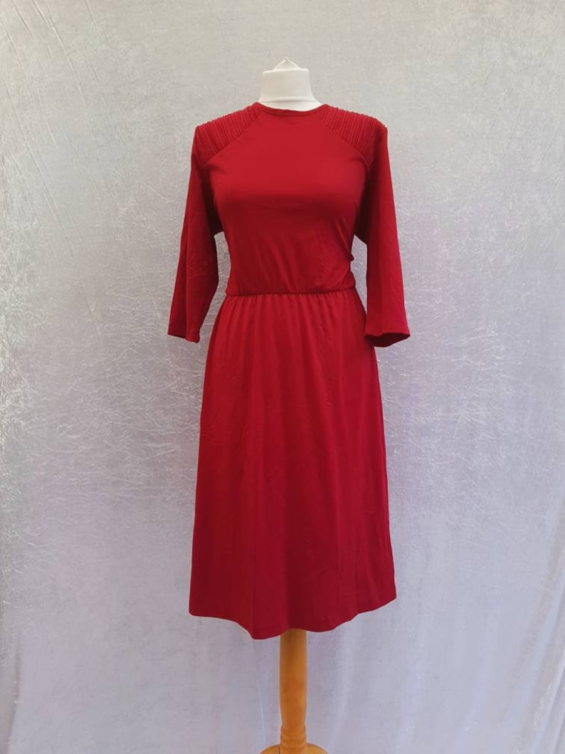 Vintage 80s Blair Deep Rich Cranberry Red Soft Polyester image 0