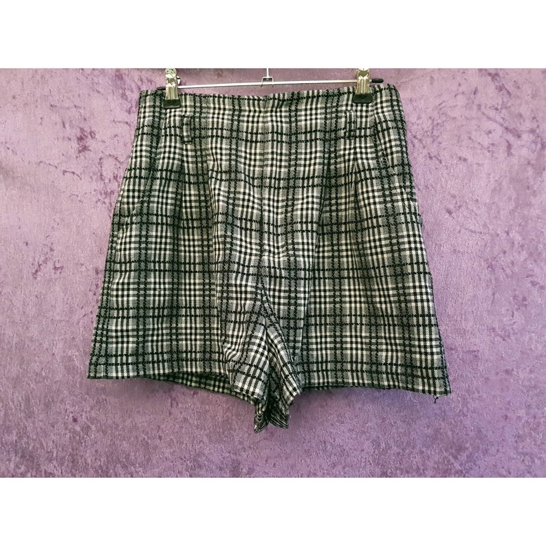 Vintage Heather High Waisted Black and White Check Plaid image 0