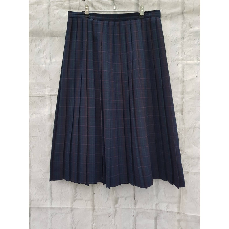 Vintage St Michael Dark Navy Blue Tartan Check Pattern Pleated image 0