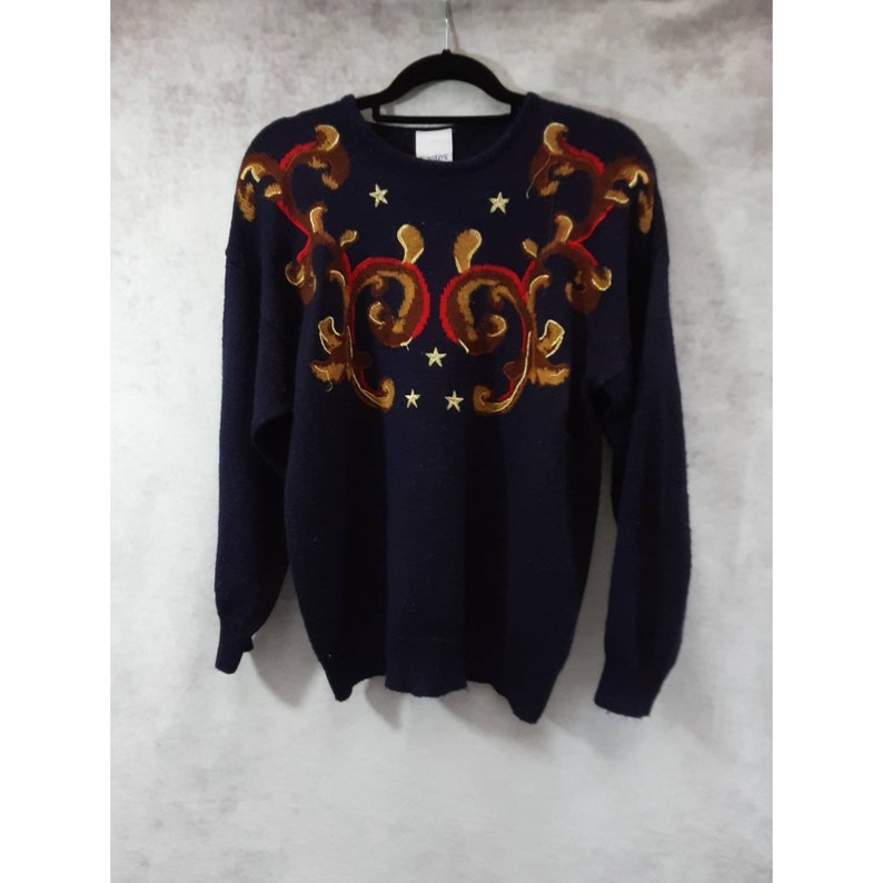 Vintage 80s Eastex Navy Blue Wool Acrylic Knit Embroidered image 0