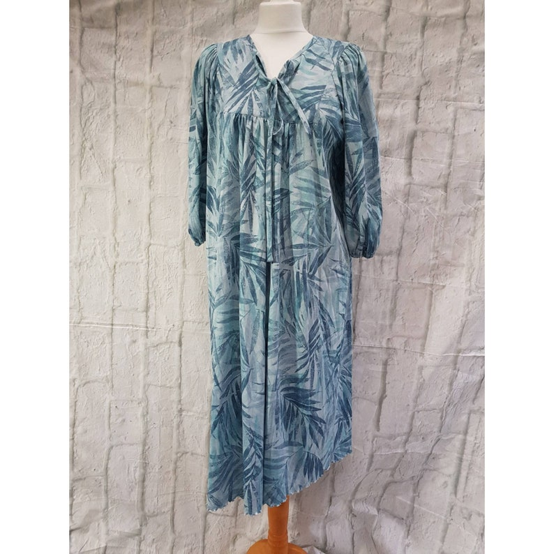 Vintage Blue Leaf Palm Print Pussybow Tie Neck Gown 3/4 Sleeve image 0