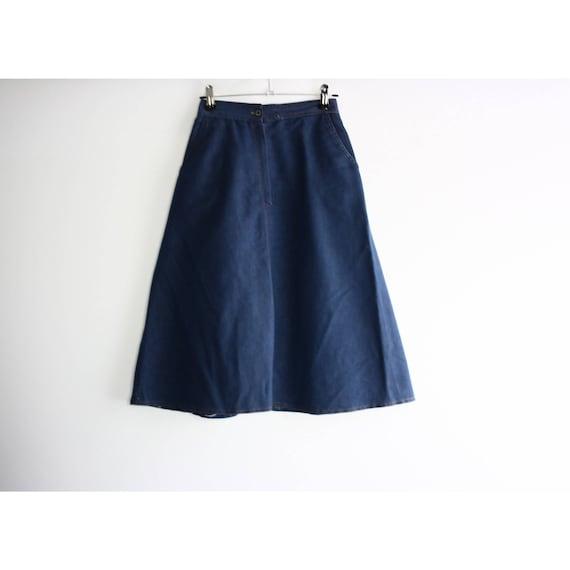 Vintage 1960s High Rise Blue Denim A-line Skirt, … - image 5