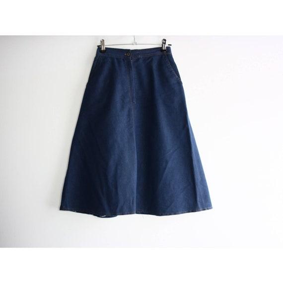 Vintage 1960s High Rise Blue Denim A-line Skirt, … - image 7
