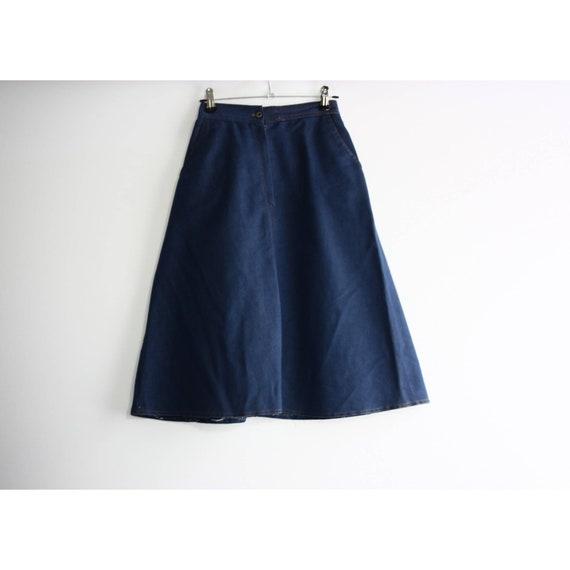 Vintage 1960s High Rise Blue Denim A-line Skirt, … - image 2