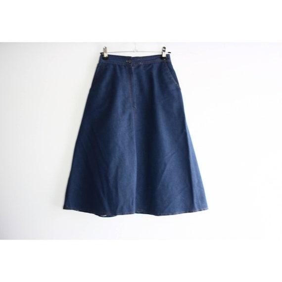Vintage 1960s High Rise Blue Denim A-line Skirt, … - image 6