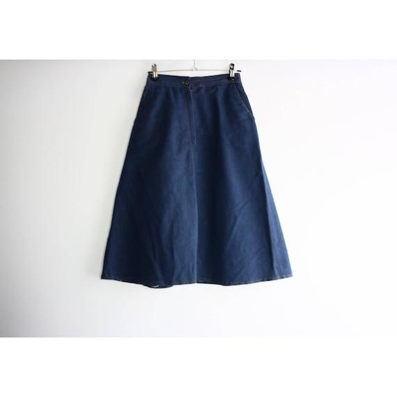 Vintage 1960s High Rise Blue Denim A-line Skirt, … - image 8