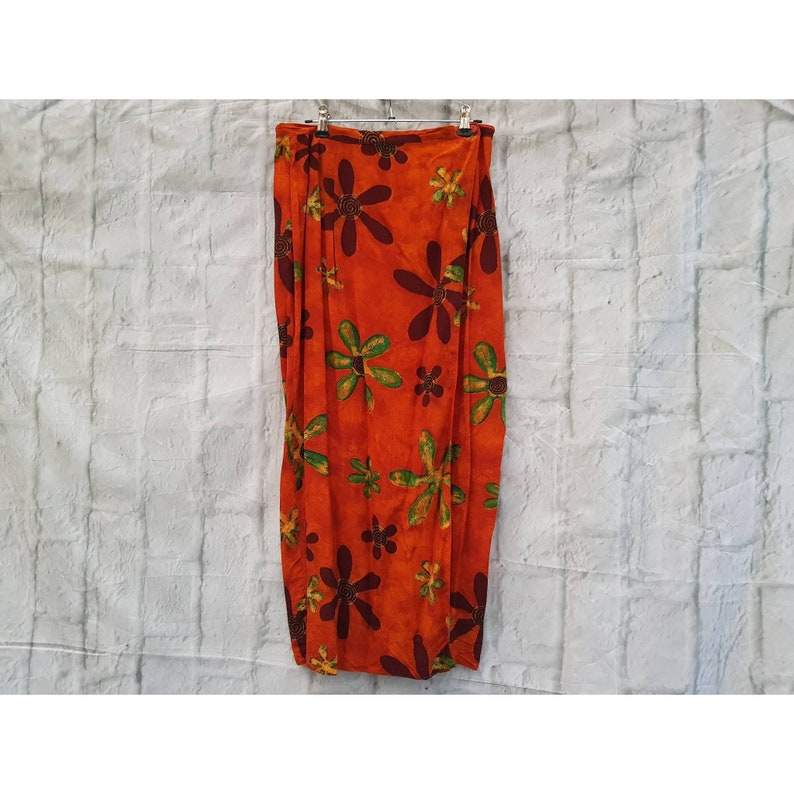 Vintage Burnt Orange Floral Print Sarong Beach Boho Wrap image 0