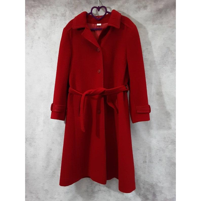 Vintage Miss Smith Original Dark Red Wool Button Down Belted image 0