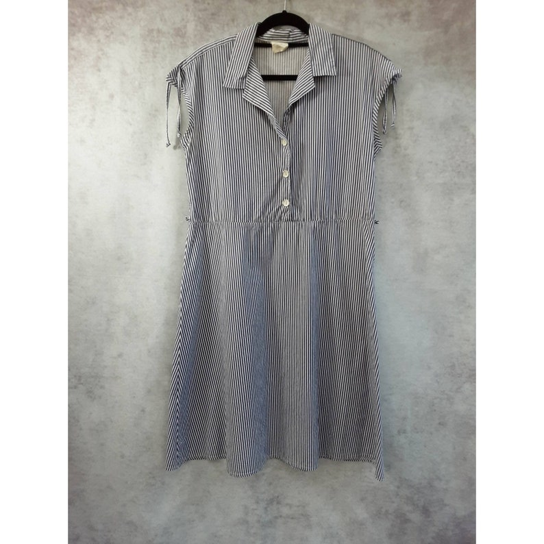 Vintage Striped Navy Blue and White Cotton Summer Shirt Dress image 0