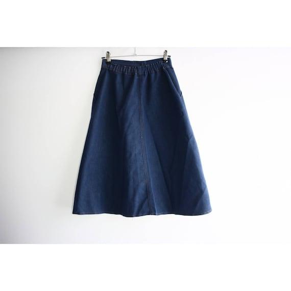 Vintage 1960s High Rise Blue Denim A-line Skirt, … - image 4