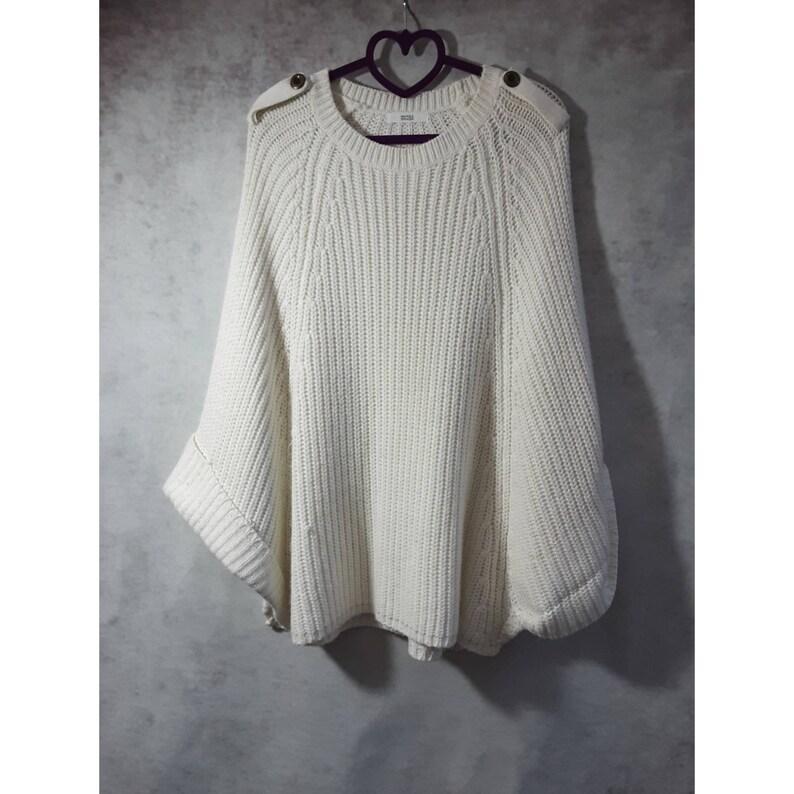 Vintage Marks & Spencer Cream White Knitted Shawl Poncho One image 0